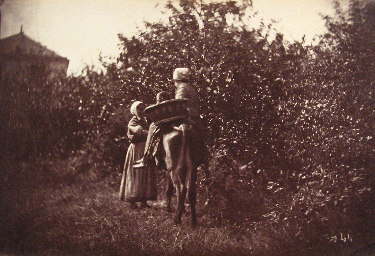 Two Female Peasants, One riding Donkey