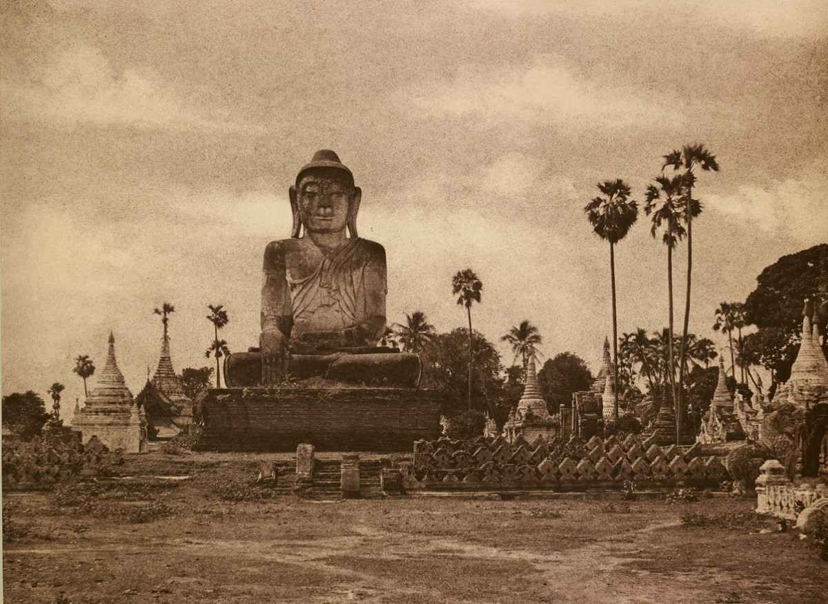 No. 46 Amerapoora. Colossal Statue of Gautama close to the N. end of the (wooden) bridge